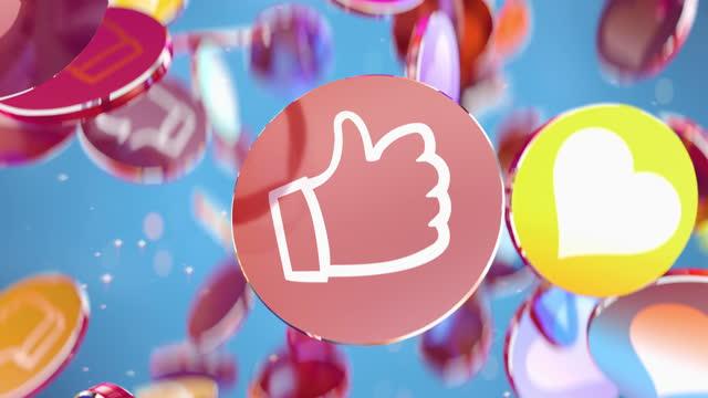 Modern dynamic animation of Like it in social media in 4K
