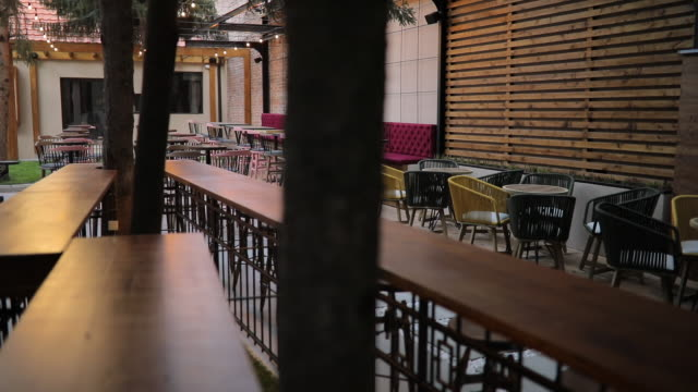 Modern empty cafe outdoors video