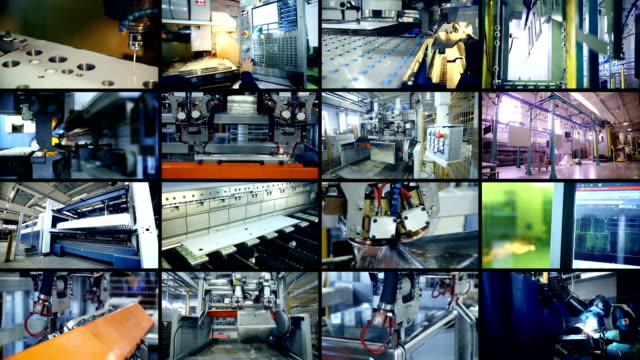 Modern factory. Multiscreen montage. Modern industrial production. Multiscreen montage 4K hd format stock videos & royalty-free footage