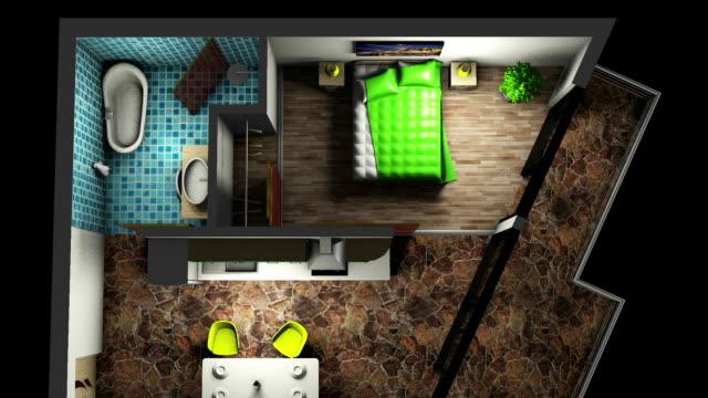 Modern flat interior - TOP View video