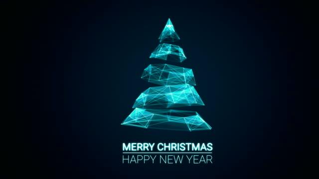 moderne zukünftige weihnachtsbaum und frohe weihnachten und happy new year grüße nachricht auf blauem hintergrund. elegante animierte urlaub saison soziale digitale karte für technologie, futuristische business.4k video - weihnachtskarte stock-videos und b-roll-filmmaterial