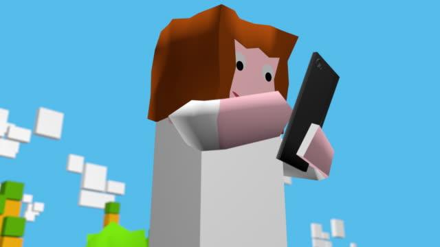 modernes spiel avatar süchtig nach smartphone oder tablet-computer - comic font stock-videos und b-roll-filmmaterial