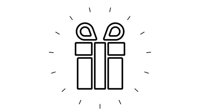Modern Gift Box Line Icon Animation on white background