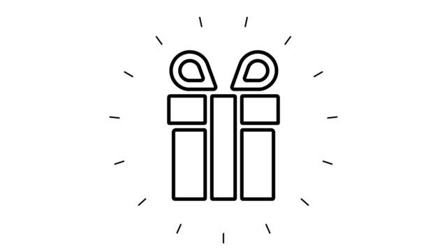 白い背景にモダンギフトボックスラインアイコンアニメーション - アイコン プレゼント点の映像素材/bロール