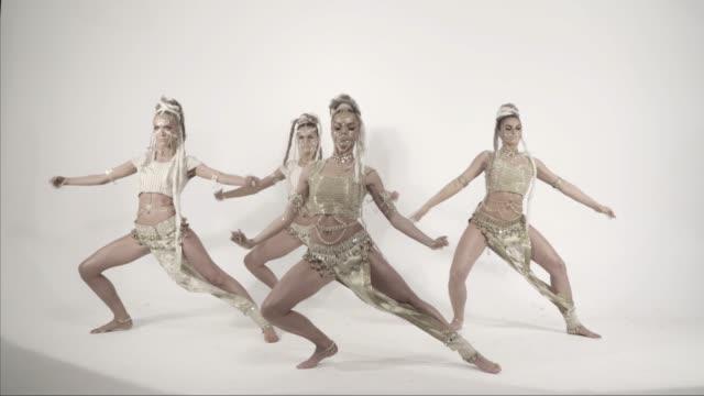 Modern glamorous Indian dances on a white background