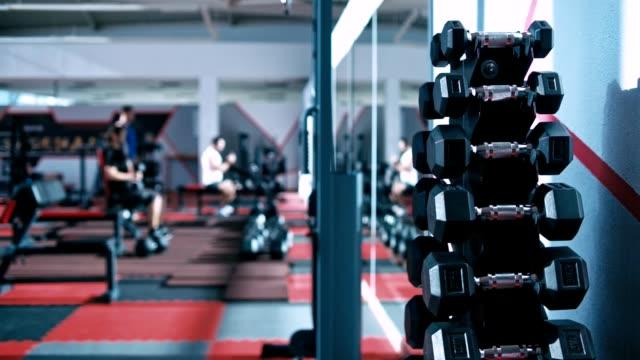 modern gym interior - sala gimnastyczna miejsce rekreacji filmów i materiałów b-roll
