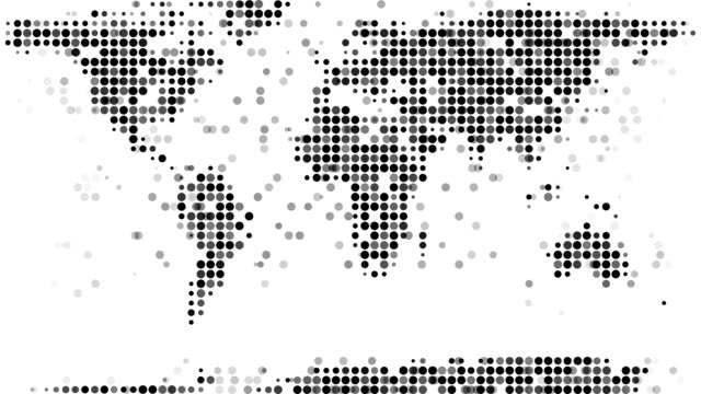 Modern Design World Map. WORLD MAP  modern halftone style LOOP video Royalty Free World Map HD Video 4K Stock Footage B Roll iStock