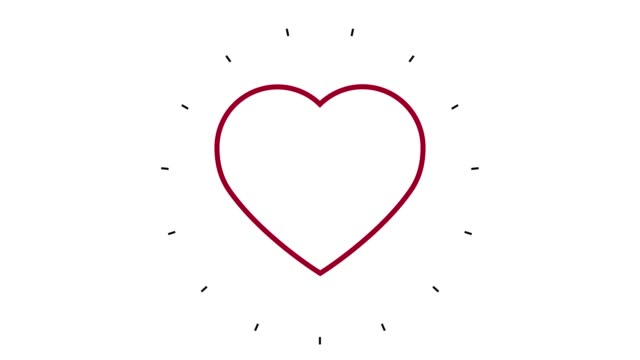 Modern Heart Shape Line Icon Animation on white background