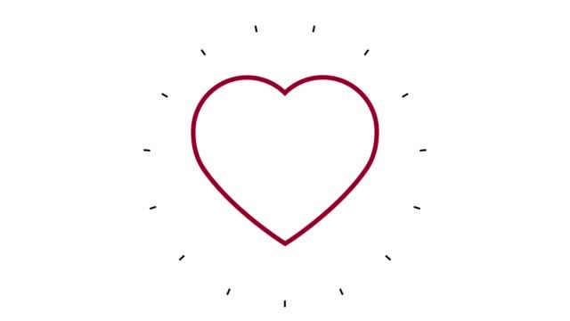 vidéos et rushes de animation moderne d'icône de ligne de forme de coeur sur le fond blanc - contour