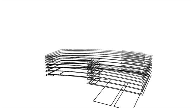 プロジェクトの初期段階での3Dモダンハウスモデル、コンセプトの構築と設計。アニメーション。白い背景に建物の模式図 ビデオ