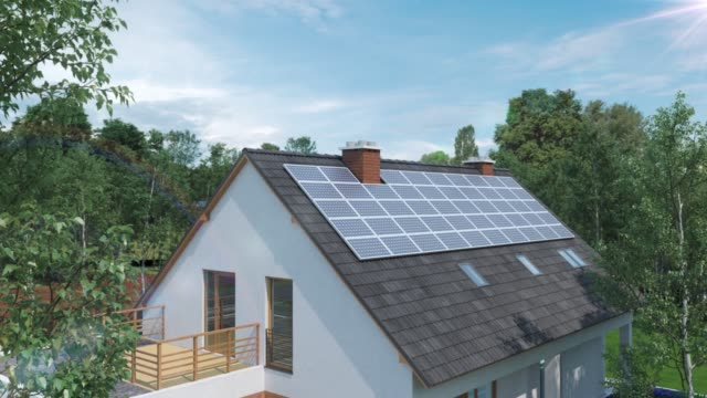 vídeos de stock e filmes b-roll de modern house with solar cells on roof top 3d animation - energia solar