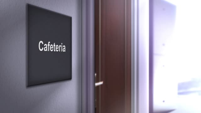 vídeos de stock e filmes b-roll de modern interior building signage series - cafeteria - cantina