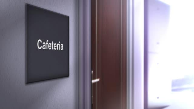 modern interior building signage series - cafeteria - stołówka filmów i materiałów b-roll