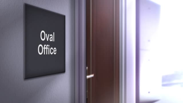 modern interior building signage series - oval office - politica e governo video stock e b–roll
