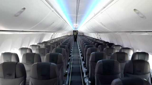 Modern interior of the airliner video