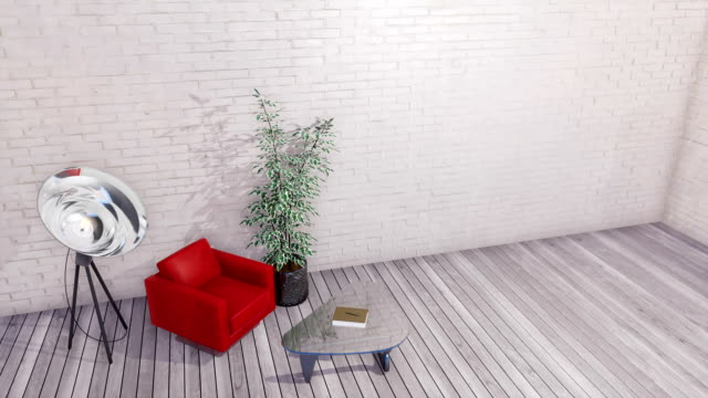 Modern interior with red armchair and empty white brick wall