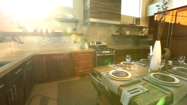 Modern Kitchen Dolly Left from Sun Flare Through Window video
