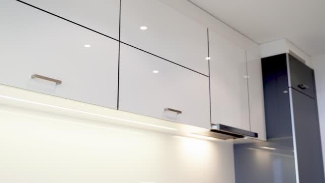 Modern kitchen interior design of the kitchen cabinets and modern kitchen countertop.