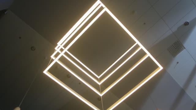 modern led aydınlatma kareler - avize aydınlatma ürünleri stok videoları ve detay görüntü çekimi