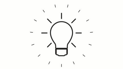 animazione icona linea lampadina moderna su sfondo bianco - idea video stock e b–roll