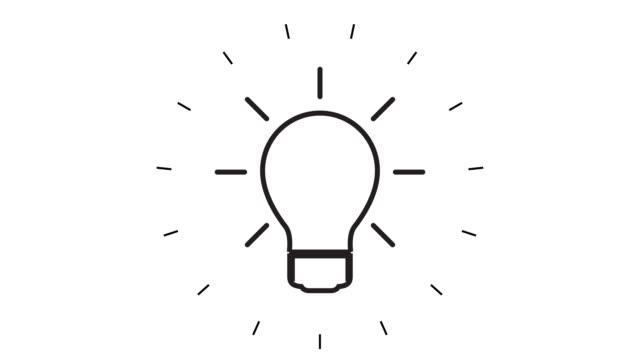 modern light bulb line icon animation på vit bakgrund - idé bildbanksvideor och videomaterial från bakom kulisserna