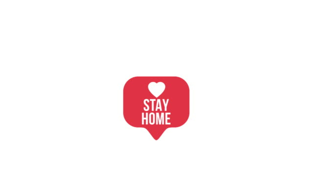 Modern like pink icon with animation STAY HOME message Auto Post Production Filter, Heart Shape, Like Button, Love - Emotion, quarantine, 4K Resolution, COVID-19, Coronavirus covid icon stock videos & royalty-free footage