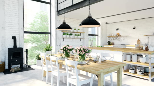 stockvideo's en b-roll-footage met moderne loft appartement. 3d-rendering - interieur