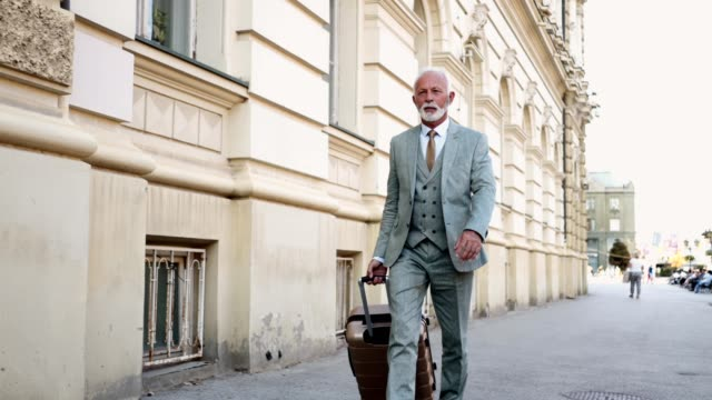 現代ビジネス旅行の上級ビジネスマンを見る - カッコいい点の映像素材/bロール