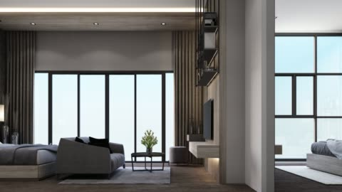 Modern luxury bedroom and living area with wooden and marble texture 3d rendering Modern luxury bedroom and living area with wooden and marble texture 3d rendering apartment stock videos & royalty-free footage
