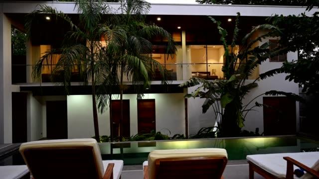 Modern luxury home at dusk
