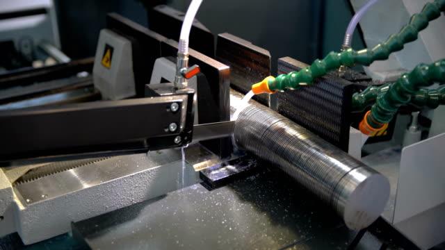 Modern machine Saw. Cutting metal modern processing technology. Modern machine Saw. Cutting metal modern processing technology. workbench stock videos & royalty-free footage