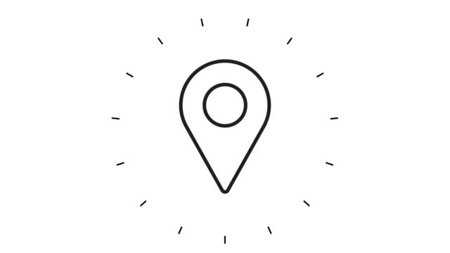 modern map pointer line icon animation on white background - położenie filmów i materiałów b-roll