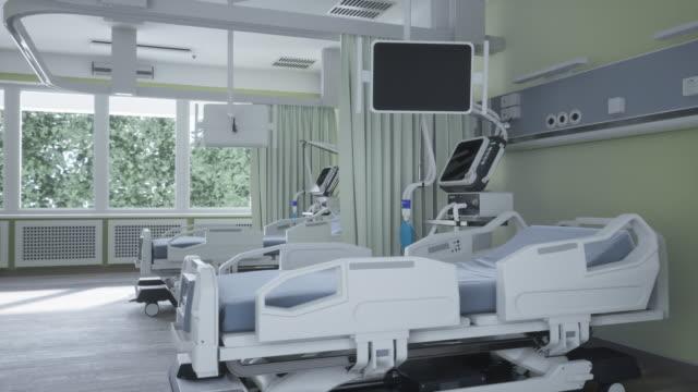 modern medicinsk säng och ventilator - intensivvårdsavdelning bildbanksvideor och videomaterial från bakom kulisserna