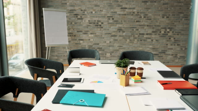 modern meeting room - conferenza stampa video stock e b–roll