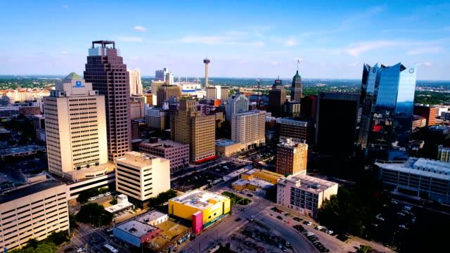 modern meets old cityscape - san antonio texas stock videos & royalty-free footage