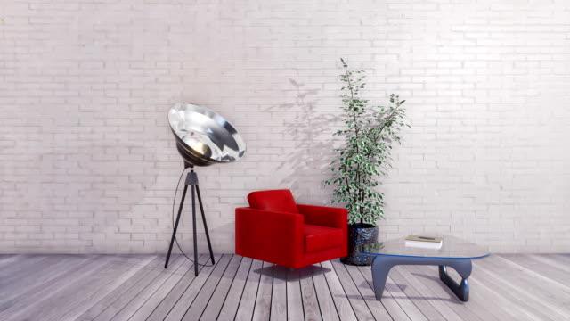Modern minimalist interior with empty white brick wall 3D animation