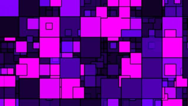 moderno design quadrato minimalista viola e rosa che si sovrappone - 4k seamless loop motion background animation - a forma di blocco video stock e b–roll
