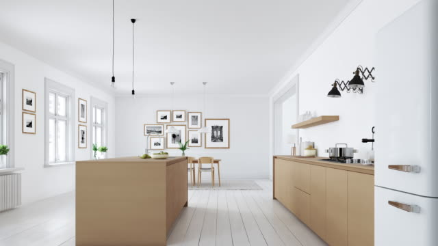 modern nordic kitchen in loft apartment. 3d rendering - kitchen stock videos & royalty-free footage