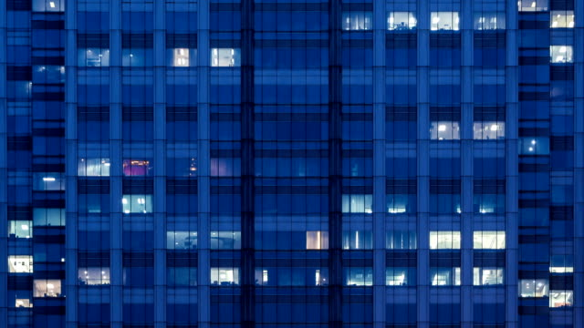Modern office building at night video