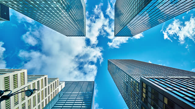 Modern Office Building in Sky. Business Conceptual Background. New York