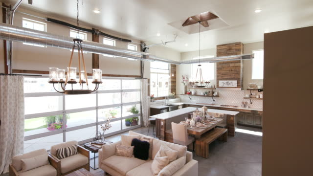 Modern Open Living Space with Kitchen Lower Right Angle video