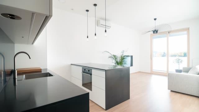 Modern Open Plan Kitchen Living Room Design Stock Video Download
