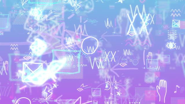 moderni doodle pop colorati e felici [loop] - scarabocchio motivo ornamentale video stock e b–roll