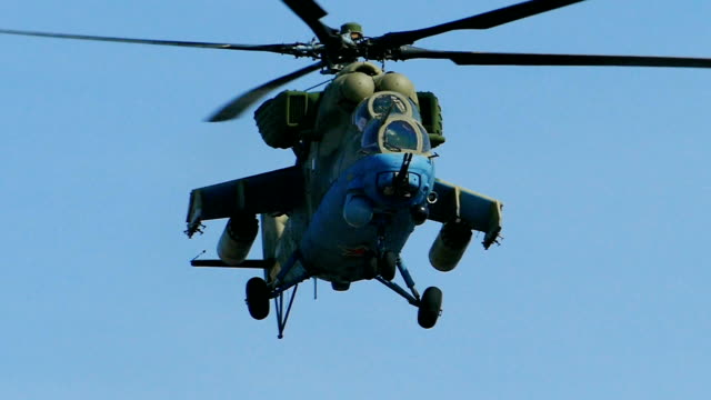 Bидео modern powerful military helicopter (slow motion)