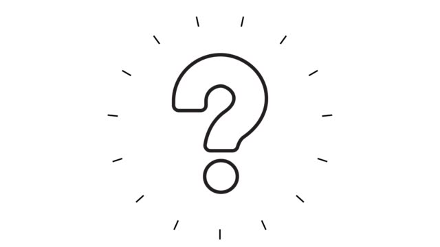Modern Question Mark Line Icon Animation on white background