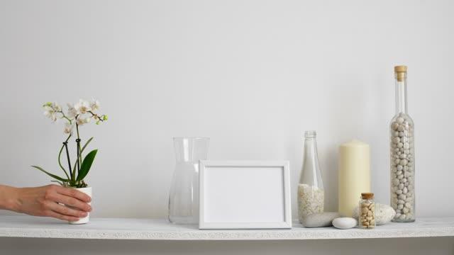 moderne raumdekoration mit bilderrahmen mockup. regal gegen weiße wand mit dekorativer kerze, glas und felsen. hand legen topfplantagen. - orchidee stock-videos und b-roll-filmmaterial