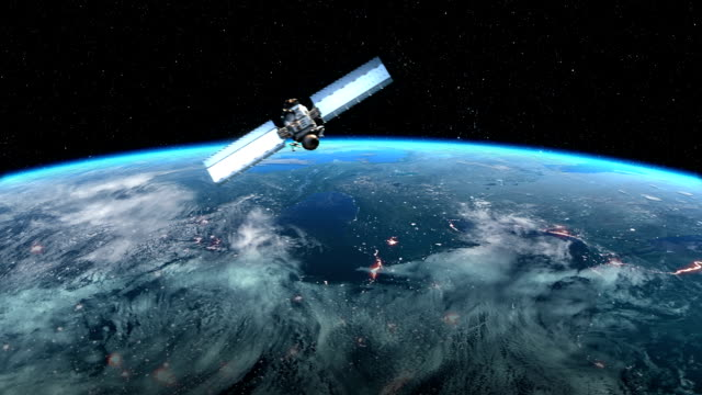 Modern Satellite is Orbiting the Earth video