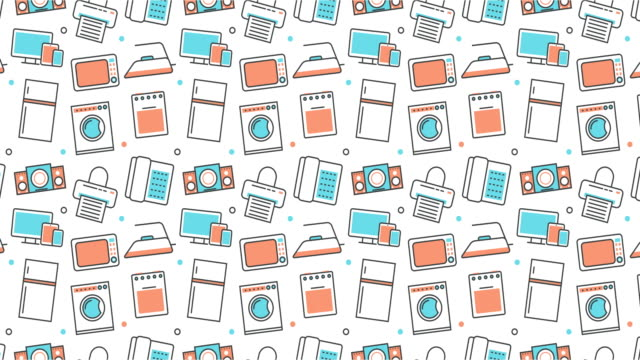 modern seamless texture background of flat home appliances icons video