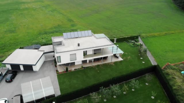 Modern self-sufficient house with solar panels