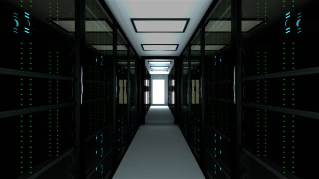 Modern server room interior in datacenter, web network and internet telecommunication technology, big data storage and cloud service concept, 3d render Modern server room interior in datacenter, web network and internet telecommunication technology, big data storage and cloud service concept, 3d rendering server room stock videos & royalty-free footage